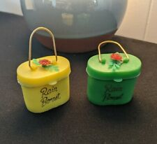 Set of 2 Vintage Green & Yellow 1960s Suitcase Rain Hats Bonnets Advertising.