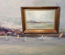 Barcos de vela en el gardasee. MUY Emebellecedor Antiguo Pintura al óleo ,