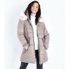 LOOK Stone Faux Fur Trim Hooded Puffer Jacket Size UK 18 Dh180 KK 02