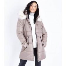 6c76aff4e61 LOOK Stone Faux Fur Trim Hooded Puffer Jacket Size UK 18 Dh180 KK 02