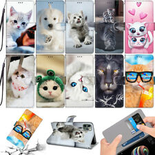 Funny Cats Animal Magnetic Leather Strap Flip Stand Case Cover For Various Phone