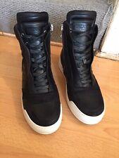 Balmain Sneaker Black Leather High Top Zipper Boot Uk 9,RRP£800