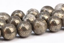 8MM Natural Gold and White Pyrite Grade AAA Round Gemstone Loose Beads 15.5