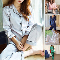 WOMEN/LADY Silk Satin Pajama Sets Long Sleeve Sleepwear Homewear Nightwear Robe@