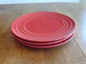 RACHAEL RAY DOUBLE RIDGE RED SALAD PLATES  LOT OF 3