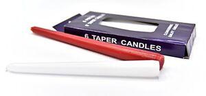 Caja De 6 Cónico Cera Limpia Quemado Calidad 20.3cm Velas en Blanco o Rojo C08