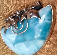LARGE Larimar pendant ,925 STERLING SILVER,Hand made in Poland,45x35 mm