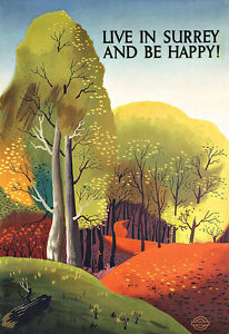 Art Ad  Live in Surrey and be happy Railway Travel Poster Print
