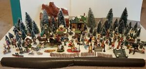 HUGE LOT Christmas Lemax/Dept 56/Unbranded Trees Accessories Figurines Animals