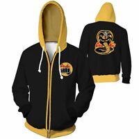 Mens Cobra Kai Karate Kid 3D Print Casual Sweatshirt Hoodie Zipper Jackets Coat