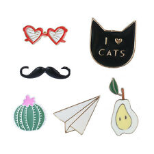 6pcs Cute Enamel Mustache Cat Collar Pins Badge Corsage Cartoon Brooch Jewelery