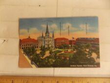 NEW ORLEANS - Jackson Square and buildings surrounding  -LINEN Postcard (Lot B)