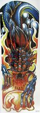 Blue Red Fire Dragon Flower Temporary Tattoo Sleeves Adults Fake Tattoo Stickers