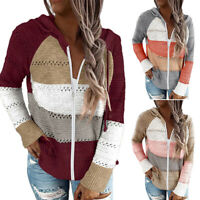 UK Women Knitted V-neck Hoodies Sweater Ladies Loose Casual Jumper Pullover Tops