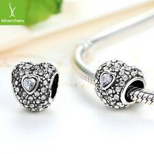 TOP Sale European Heart Charms Fit Women 925 DIY Bracelet, Necklace, Snake Chain
