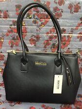 New Kenneth Cole Reaction Black Saffiano Faux Leather Annemarie Satchel Handbag