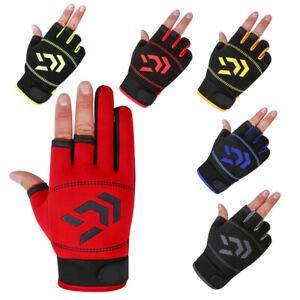 1 Pair Fishing Gloves 3 Cut Finger Fingerless Glove For Outdoor Sports Anti-Slip