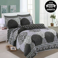 New Modern Polycotton Duvet Cover Quilted Set 4 Pcs Bedding Throw Single Double