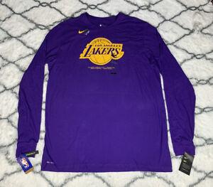 NIKE Dry Los Angeles Lakers Classic Logo Purple Long Sleeve Shirt Sz 2XLT *NEW*