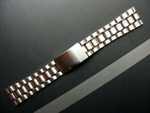 Uhrenarmband Stahl Edelstahl Matt/Poliert Massiv mit 20mm Bandanstoß