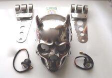 2 HORNED SKULL BOBBER,CUSTOM CHOPPER MOTORBIKE +LED LIGHTS & S/STEEL BRACKETS.