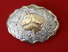 PESANTE placcato argento COWBOY fibbia della cintura vintage CRUMRINE