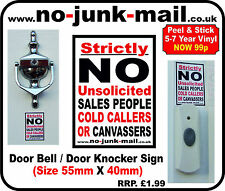 Doorbell / Door Knocker Sign. No Cold Callers Vinyl Sticker No Canvassers I:Can