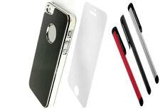 LUXURY BLACK Brush ALUMINIUM CHROME Hard Case Cover For iPhone 5 5S SE SCREEN PR