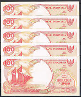INDONESIA - LOTE 5 BILLETES 100 RUPIAS 1992(1995) P. 127d  SC  UNC