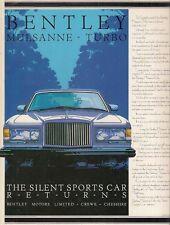 Bentley Mulsanne Turbo 1982 UK Market Launch Leaflet Sales Brochure