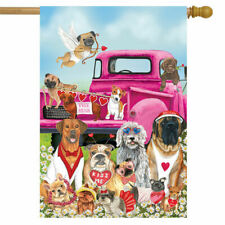 F62 HAPPY VALENTINE'S DAY DOGS PUPPY HOUSE FLAG 28X40 BANNER * FREE SHIPPING *
