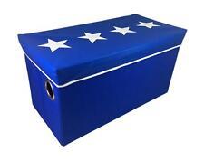 Upholstered Toy Box - Stars - Blue