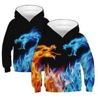 Kids Girls Boys 3D Dragon Printed Hoodie Hooded Sweatshirt Pullover Jumper Coat