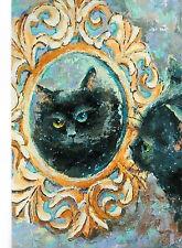 Vel Lazareva ' Black cat ' Russian modern Rare new postcard