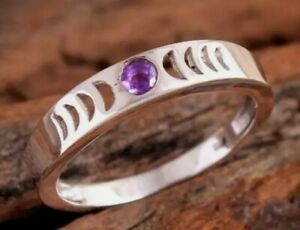 Amethyst 925 Moon Phase 925 Sterling Silver Ring Size 8 0841