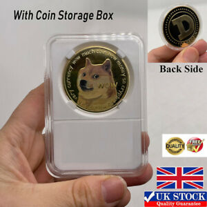 1x Gold Dogecoin Coins New Collectors Gold Color Doge Limited Collectible Hot UK
