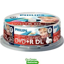 Philips DVD+R DL Blank Disc 8.5GB 240 Mins 8x Speed Inkjet Printable 25 Pack