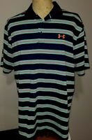 Under Armour Mens UA Short Sleeve Polo Golf Shirt XXL 2XL Multicolored Striped
