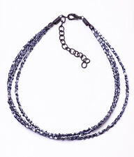 TRENDY GUNMETAL CHOKER NECKLACE 3 SPARKLY LINES OF SLIM PLASTIC BEADS (ZX27)