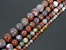 Natural Red Lightning Agate Gemstone Round Spacer Beads 15.5'' 4mm 6mm 8mm 10mm