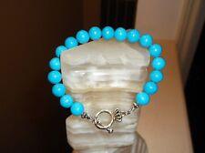 """Men's Handmade 9"""" 10 MM Blue Turquoise Beaded Bracelet"""