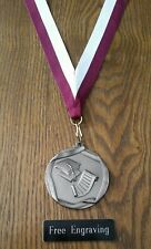 FREE ENGRAVING (PERSONALIZED)  Graduation Diploma Medal Award Maroon White