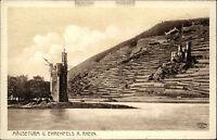 Burg EHRENFELS Rhein Mäuseturm bei BINGEN um 1920 alte Postkarte AK ungelaufen