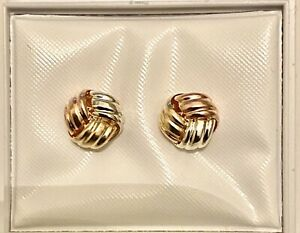 NEW 9ct MULTI-COLOUR GOLD KNOT EARRINGS