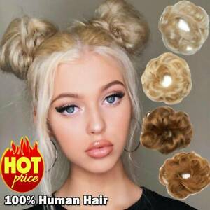 Real Clip in 100% Human Hair Piece Messy Bun Scrunchie Hair Extensions Pony Tail