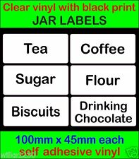 Clear vinyl black text Tea Coffee Sugar flour JAR LABEL adhesive Storage Sticker