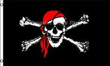 Red Bandana Jolly Roger Pirate Skull Crossbones Gold Earring 3x5 Nylon Flag