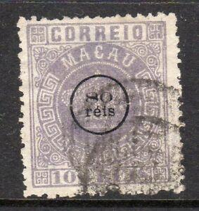 Macau 1884 80c on 100r fine used
