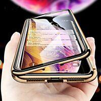 COVER per Iphone X XS Max XR Alluminio MAGNETICA con DOPPIO VETRO TEMPERATO