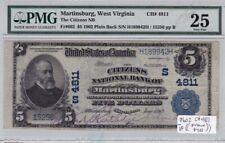 Martinsburg, WV- Citizens National Bank of - $5 - PMG VF25 - RARE NATIONAL!!!